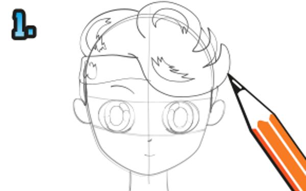 Teckna konturerna av frisyren som på bilden. Använd en blyertspenna.
