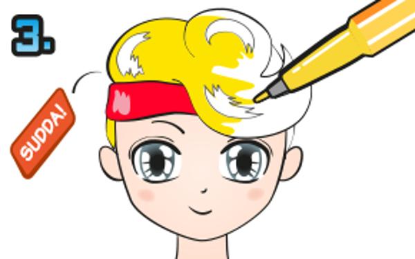 Färglägg frisyren. Sudda ut blyertsen som är kvar.