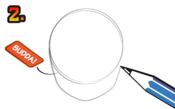 Rita dit en haka och sudda sedan ut nedre delen av cirkeln.