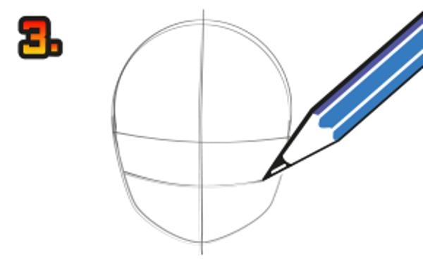 Gör tre linjer som på bilden. Obs! Teckna med blyerts.