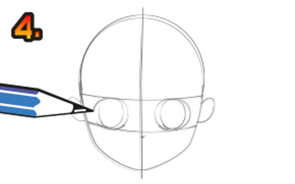 Utgå från linjerna och rita dit öron, näsa och ögon. Hur du fixar fina ögon kan du se på tecknarskolan - mangaögon.