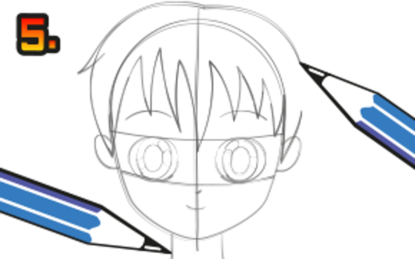 Ge din figur en frisyr, hals, ögonbryn och mun. Tips på olika mangafrisyrer kan du se på tecknarskolan - Mangafrisyrer.