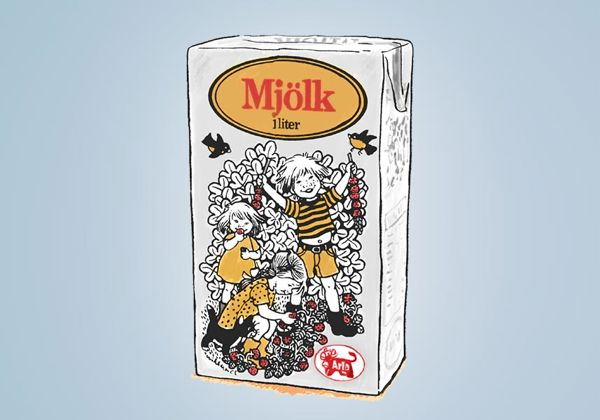Mjölkpaket med Ilon Wiklands illustrationer
